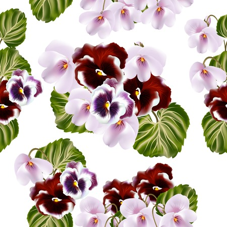 victorian wallpaper: Vintage vector seamless wallpaper with violets flowers Illustration