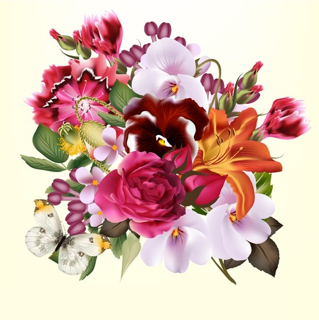 Cute vector background  with bouquet of flowers for greeting cards design