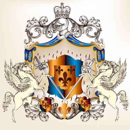 Vector heraldischen im Vintage-Stil mit Schild, Rüstung, Krone und Wirbel Ornament für Design Standard-Bild - 26477363