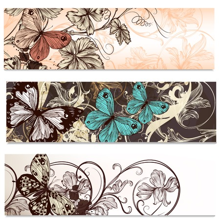 swirly design: Set of floral brochures with  flowers and butterflies for design Illustration