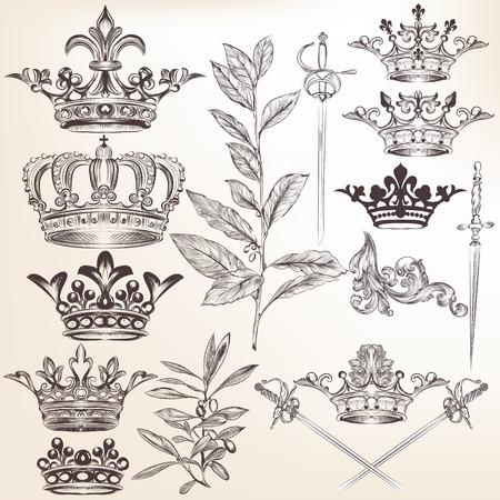 corona reina: Conjunto de vectores de coronas para el diseño heráldico