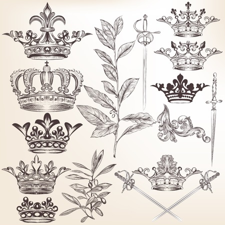 fleur de lis: Vector set of  crowns for your heraldic design