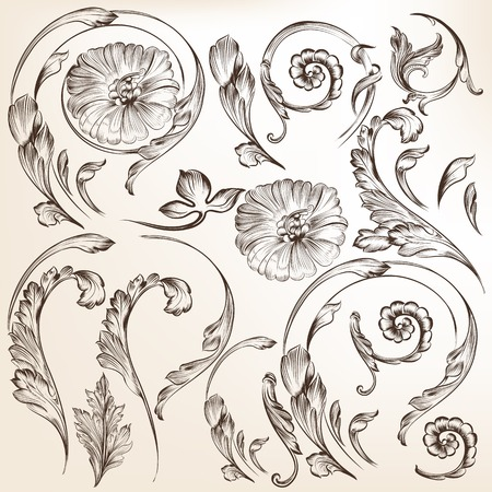 filigree: Vector set of swirl elements for design  Calligraphic vector Illustration