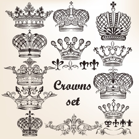 lily flowers set: Vector set of  crowns for your heraldic design