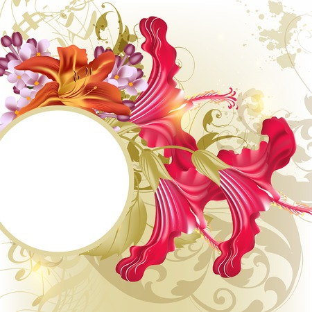 Floral  vector background  with banner and flowers Vector