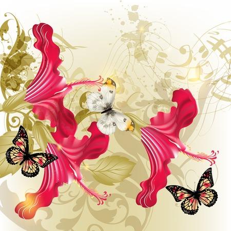 музыка: Вектор фон с бабочками и цветами Иллюстрация