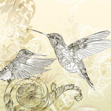 Mode-vector achtergrond met gedetailleerde hand getekende bloeit en vogels Vector Illustratie