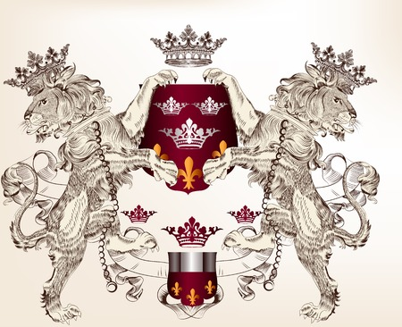 nobel: Vector heraldic illustration in vintage style with shield, armor, crown and lions for design