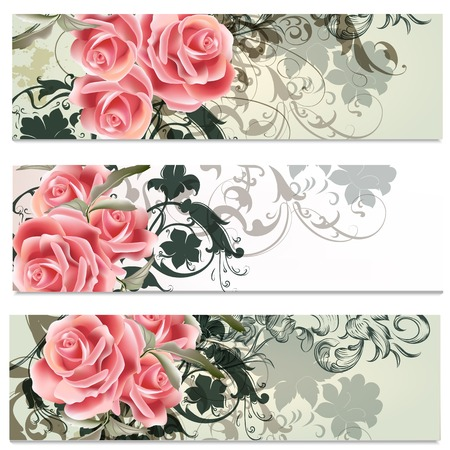 Set of floral brochures with roses flowers for design Vector