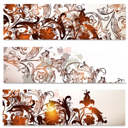 Vector set of floral hand drawn brochures with swirls Vector