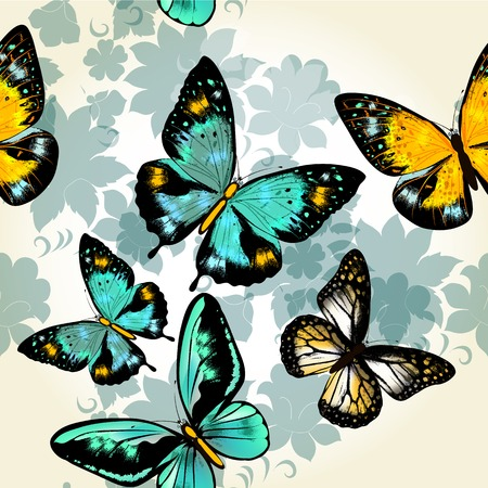 Vector seamless wallpaper pattern with vintage  butterflies for design