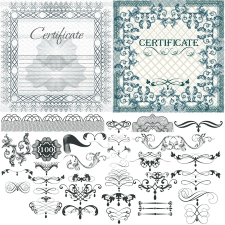 Set of vector certificates and  calligraphic elements for design