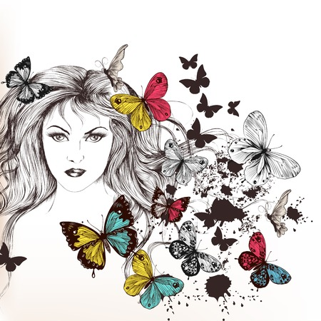 Vector portrait of beautiful young girl with  long hair and flying butterflies  Vector