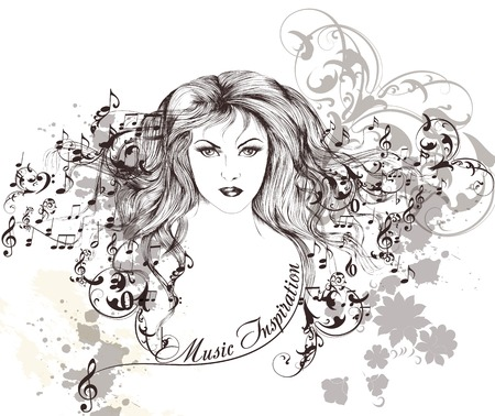 muse: Vector portrait of beautiful young girl with  long hair and  music notes Illustration