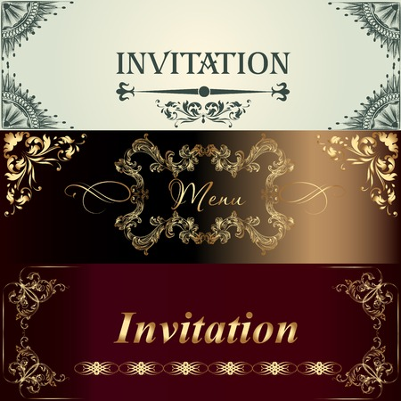 set of invitation cards or menu design in classic style Vector
