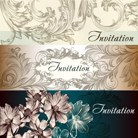 set of invitation cards or wedding  design in classic style Vector