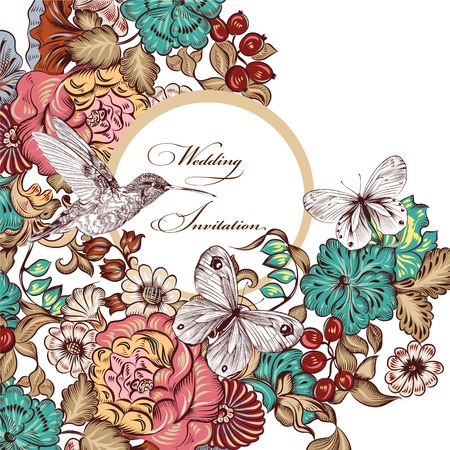 illustration with cute floral swirl elements for design Vector