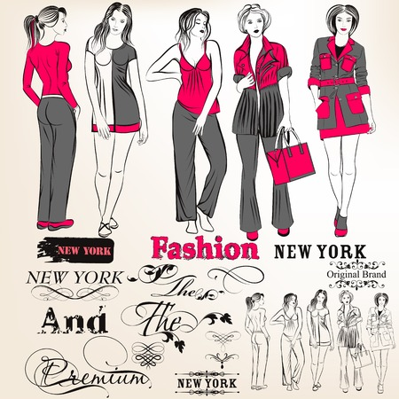 set of sketch with young fashion girls for design Vector