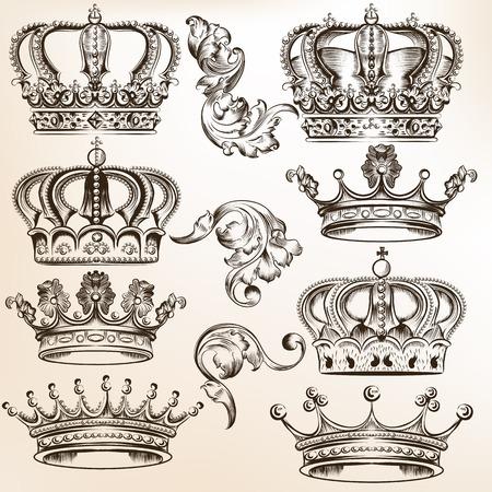 corona reina: conjunto de coronas para el diseño heráldico