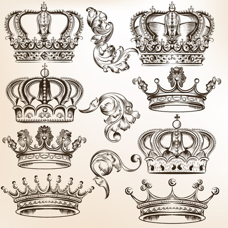 fleur de lis: set of  crowns for your heraldic design