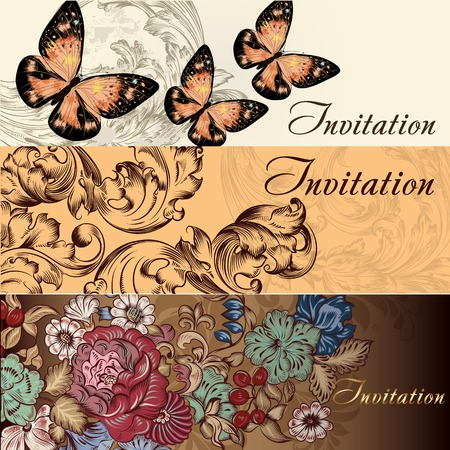 Set of floral brochures with  flowers for design Vector