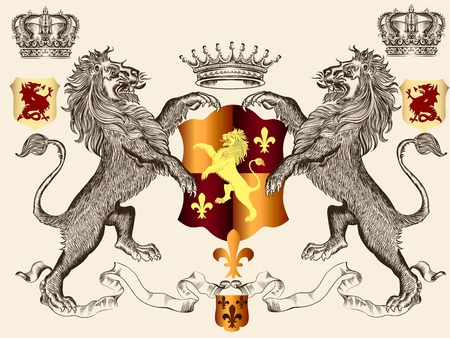 heraldic illustration in vintage style with shield, crown and lion for design Иллюстрация