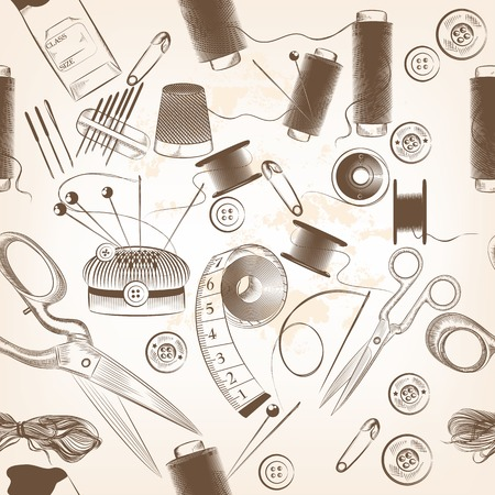 Seamless wallpaper pattern with sewing accessories Vector
