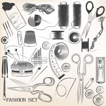 set of hand drawn sewing accessories in vintage style Vector