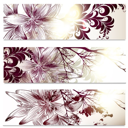 lily flowers collection: Set of floral brochures with   lily flowers for design Illustration