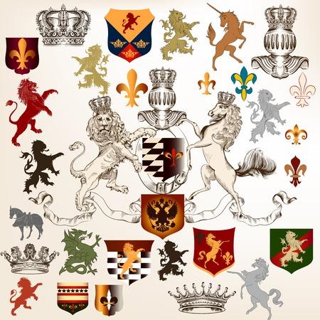 Vector set of luxury royal vintage elements for your heraldic design Vector