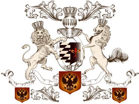 nobel: Ilustraci�n vectorial her�ldico en el estilo vintage con escudo, le�n, corona y el caballo para el dise�o