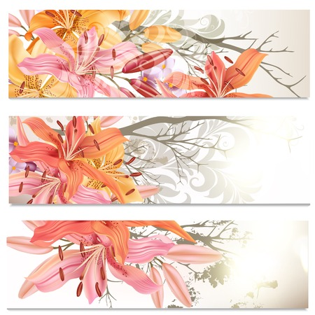Vector set of floral brochures for your design Vector