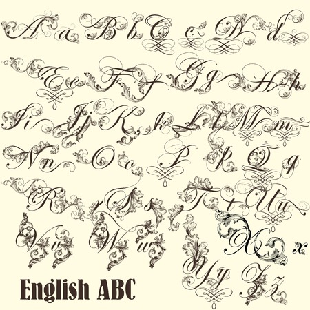 Decorative  English letters for design  Calligraphic vector Vector