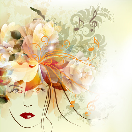 muse: Abstract vector illustration with portrait of beautiful girl