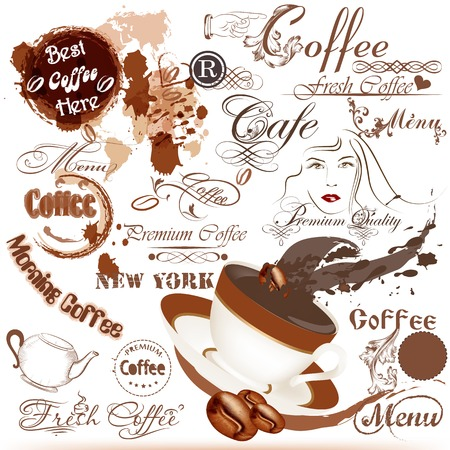 fresh brewed: Vector set of vintage grunge elements on coffee theme Illustration