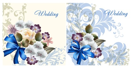 blue roses: Collection of wedding invitation cards for design Illustration