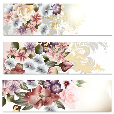 rosy: Set of floral brochures with flowers for design