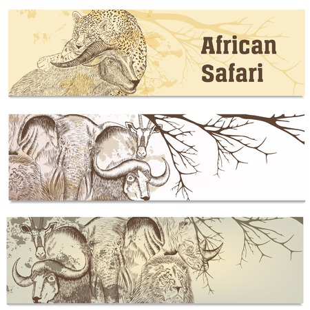 Vector set of hand drawn business cards with  African animals Vector