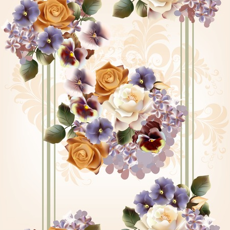 cute flowers in vintage style for design Vector