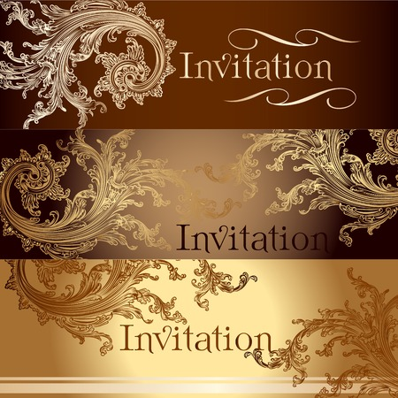 aristocrat: set of invitation cards or menu design in classic style