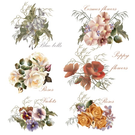 Set of floral designs in watercolor style with flowers