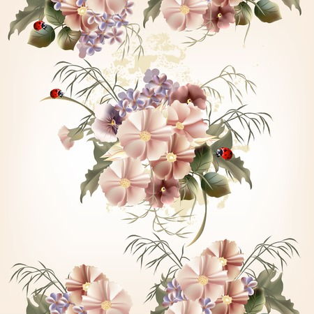 Vector cute flowers in vintage style for design Vector