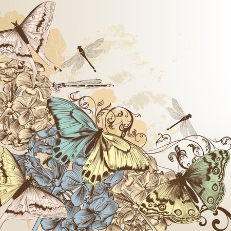 Elegant vector background with pastel butterflies and hand drawn flowers Vector