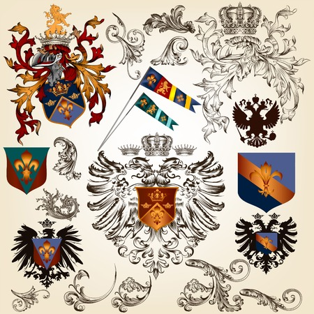 eagle badge: Vector set of luxury royal vintage elements for your heraldic design