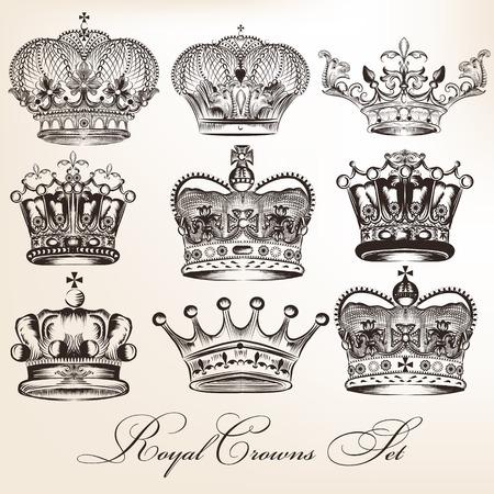corona reina: Vector conjunto de coronas para el diseño heráldico