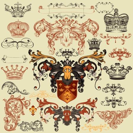 nobel: Vector conjunto de elementos de la �poca real de lujo para el dise�o her�ldico Vectores