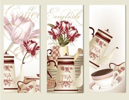 Wektorowy ustawiający broszurki lub karty z filiżankami herbata