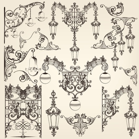 scroll work: Vector set of calligraphic decorative elements and street lights for design Illustration