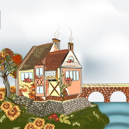 autumn scene: Vector design with little hand drawn house in English style Illustration