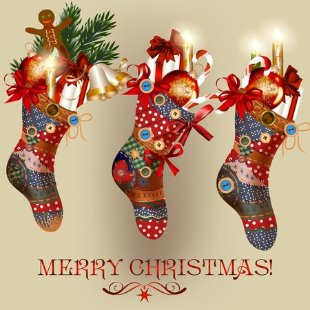 three wishes: Vector Christmas card with socks, baubles, bells and gifts